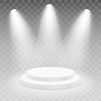 Realistic round podium with light and lamp. showroom pedestal. 3d podium, stage pedestal or platform illuminated by light on isolated background