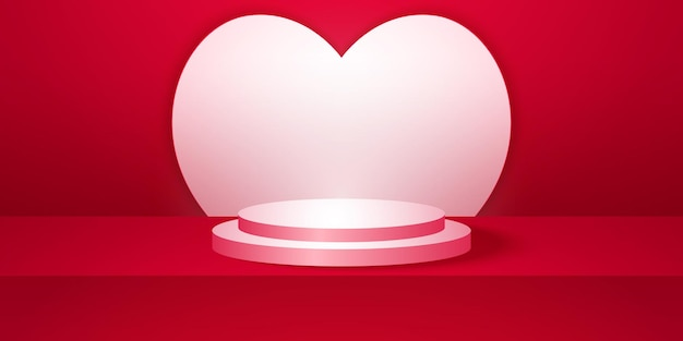 Realistic round podium with red empty studio room with heart shape background mock up for display