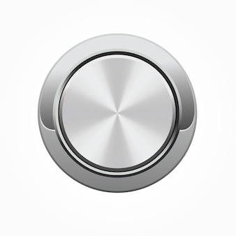 Realistic round silver button with silver frame