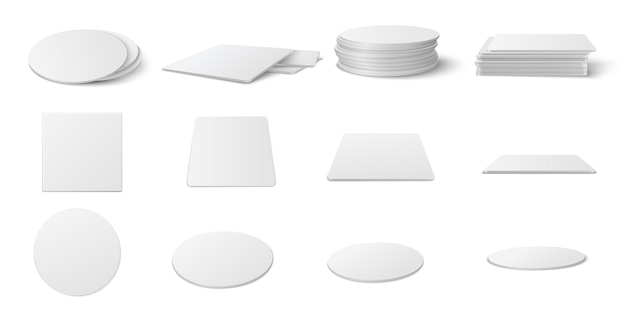 Realistic round and square table coasters mockup set.  circle and square beermat, bierdeckel  empty template set isolated on white background.
