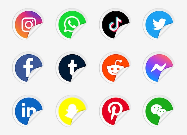Realistic round stickers with social media logos