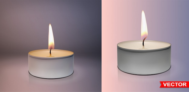Realistic round wax tealight candles set