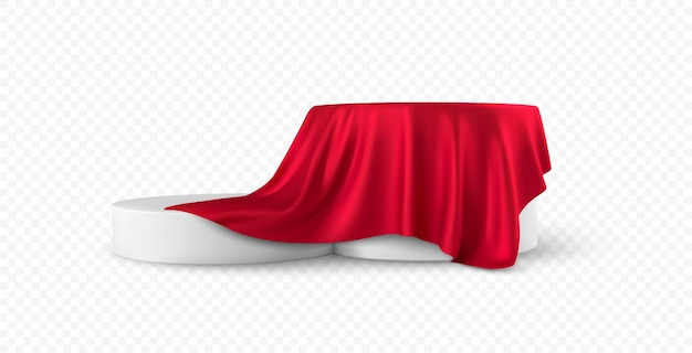 Realistic round white product podium display covered red fabric drapery folds isolated on white background.