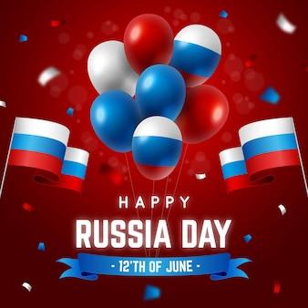 Реалистичный день россии фон с воздушными шарами