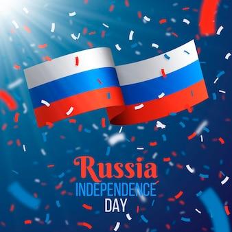 Реалистичный день россии конфетти и флаг