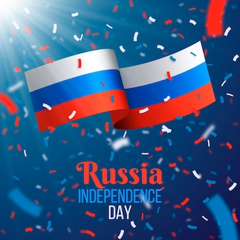 Realistic russia day confetti and flag