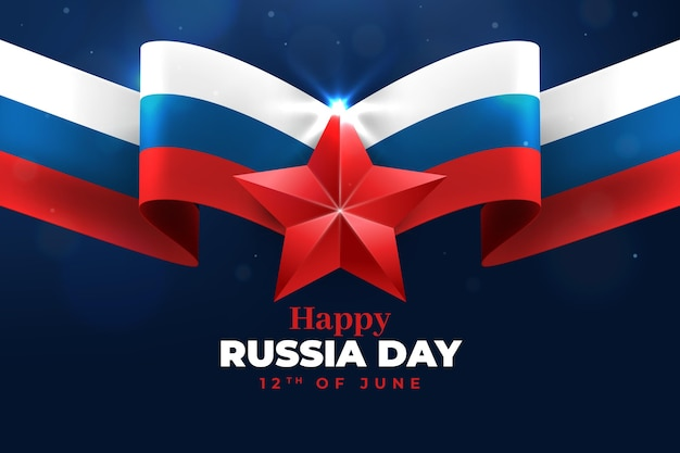 Реалистичный российский флаг и звезда