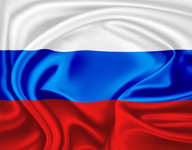 Реалистичный русский флаг символ атласная драпировка