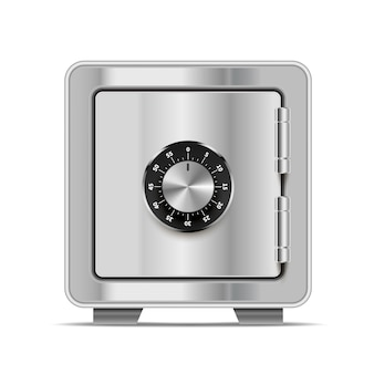 Realistic safe made from bright glossy metal steel with lock  on white