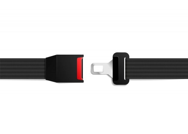 Realistic safety belt on white