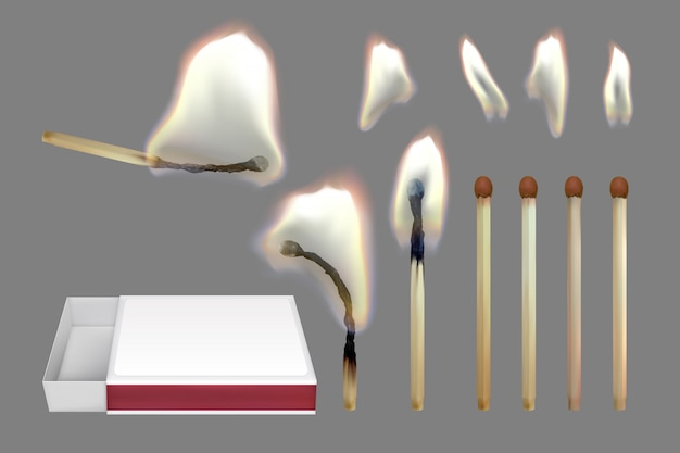 Realistic safety match. set of wooden matches.