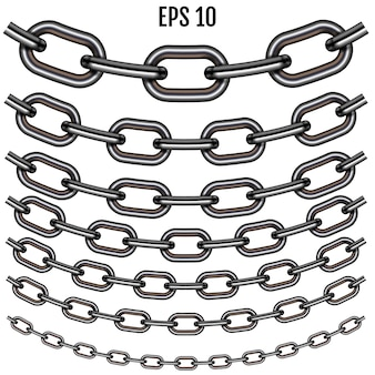 Realistic sagging steel chain set. set with shadow isolated on white background