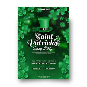 Realistic saint patrick's day flyer template