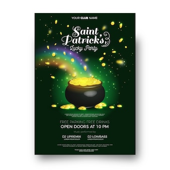 Realistic saint patrick's day poster template