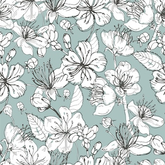 Realistic sakura hand drawn seamless pattern with buds, flowers, leaves. vintage style illustration.