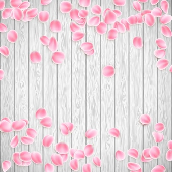 Realistic sakura petals on a white wooden background, valentines day template. and also includes