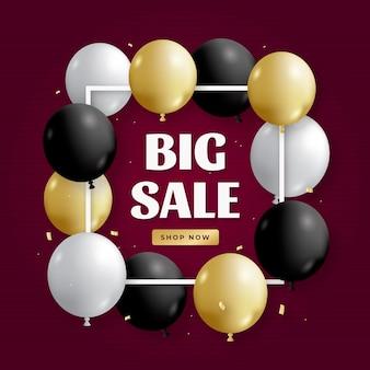Реалистичные продажи фон с воздушными шарами