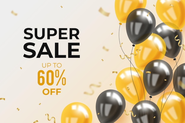 Realistic sale background  with balloons