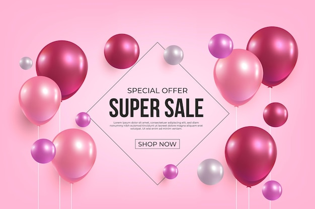 Realistic sale background with shiny balloons
