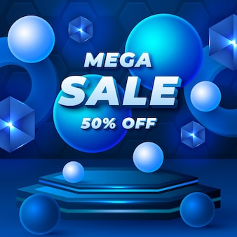 Realistic sale background with special discount