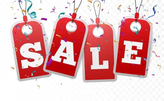 リアルな販売バナー。割引値札。商品の季節販売のための美しいイラスト。