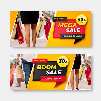 Realistic sale banners set with photo