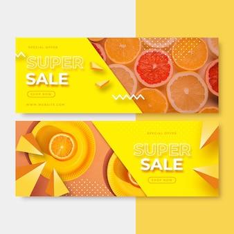 Banner di vendita realistici con foto
