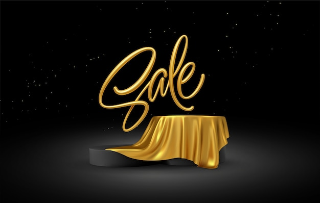 Realistic sale gold lettering with product podium display covered golden fabric drapery folds on black background.