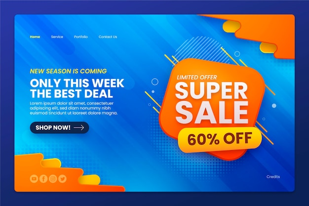 Realistic sale landing page template