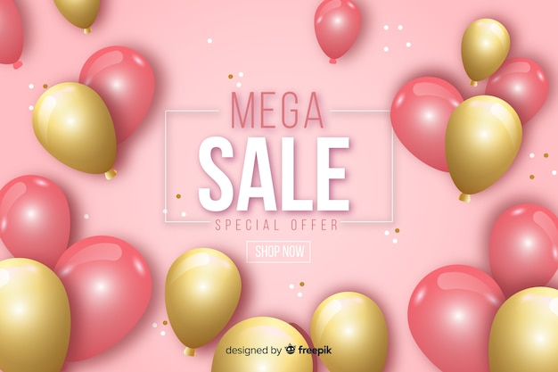 Realistic sale landing page with balloons