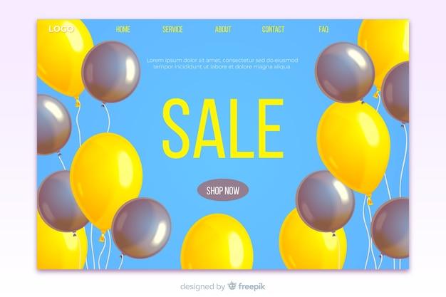 Realistic sale landing page