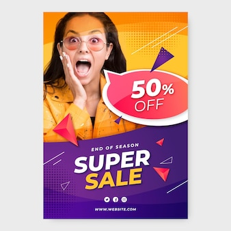 Realistic sale poster with photo
