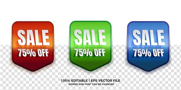 Realistic sale tag collections with editable text effect on transparent background