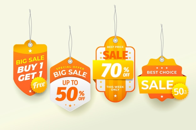 Realistic sale tags collection