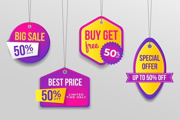 Realistic sale tags set