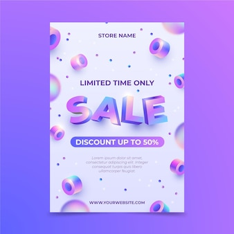Realistic sale vertical poster template