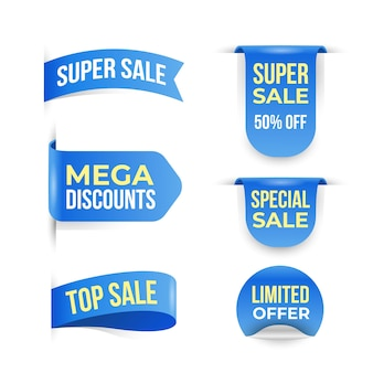Realistic sales badge collection