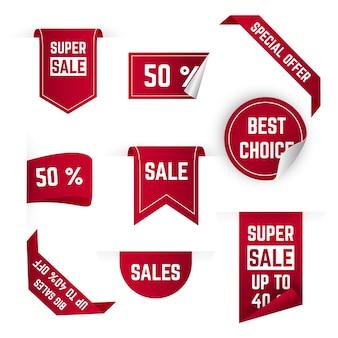 Collezione di etichette di vendita realistica