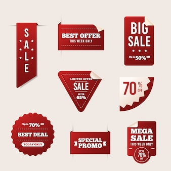 Realistic sales label collection