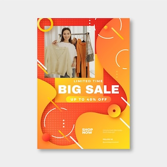 Realistic sales poster template with photo
