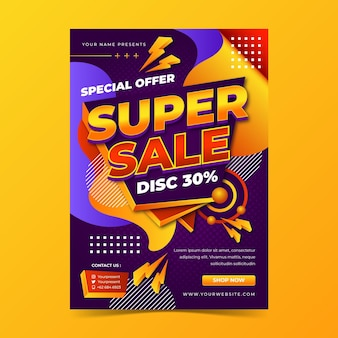 Realistic sales poster template