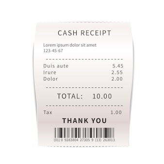 Realistic sales receipt, white shopping bill with text. paper financial check on white