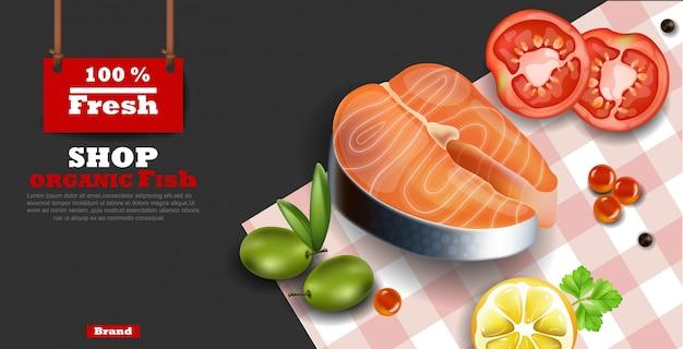Realistic salmon steak