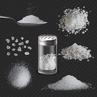 リアルな塩。スプーンで3d白い塩辛い粉のスパイス。ガラスシェーカーボトル、穀物、山の海の食用岩塩。調味料ベクトルセット