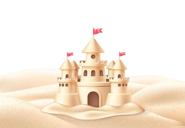 Realistic sand castle with towers flags on beach coast
