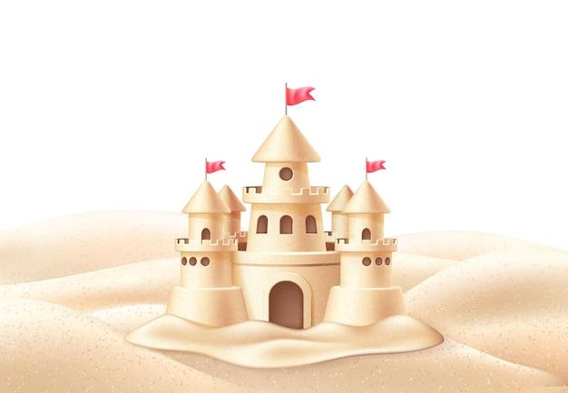 Реалистичный замок из песка с флагами башен на побережье пляжа