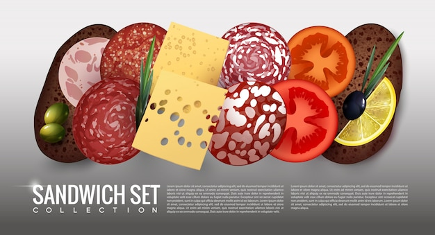 Realistic sandwich ingredients set