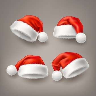 Realistic santa christmas holiday hat set