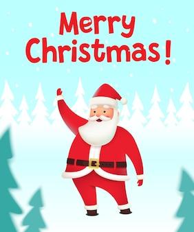 クリスマスのシーンでリアルなサンタクロースとエルフの豚メリークリスマスベクトルイラスト