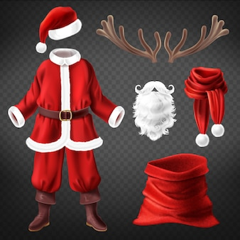 Realistic santa claus costume with accessories for fancy dress party